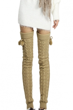 Womens Cable Knit Over Knee Fuzzy Ball Decor Long Stockings Khaki