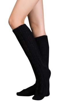 Womens Thick Warm Cable Knit Medium-long Floor Stockings Black