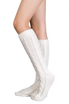 Womens Thick Warm Cable Knit Medium-long Floor Stockings Beige White