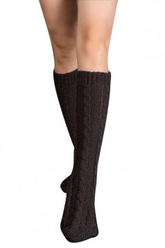 Womens Thick Warm Cable Knit Medium-long Floor Stockings Dark Gray