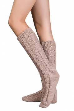 Womens Thick Warm Cable Knit Medium-long Floor Stockings Khaki
