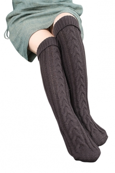 Womens Thick Warm Cable Knit Overknee Floor Stockings Dark Gray