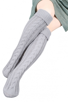 Womens Thick Warm Cable Knit Overknee Floor Stockings Light Gray