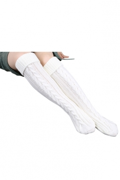 Womens Thick Warm Cable Knit Overknee Floor Stockings White