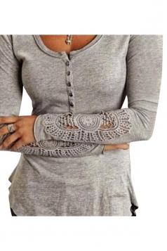 Womens Plain Round Neck Long Sleeve Lace Patchwork T-shirt Light Gray