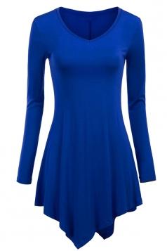 Womens Plain V Neck Long Sleeve Asymmetrical Hem T-shirt Sapphire Blue