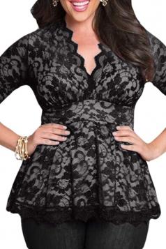 Womens Stylish V-Neck 3/4 Length Sleeve Plus Size Lace Blouse Black