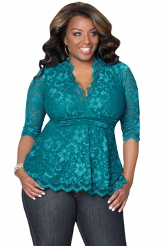 Womens Stylish V-Neck 3/4 Length Sleeve Plus Size Lace Blouse Green
