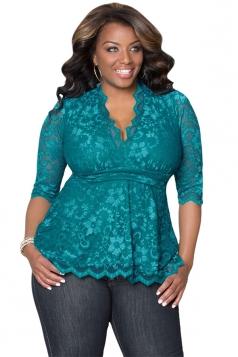 Womens Stylish V-Neck 3/4 Length Sleeve Plus Size Lace Blouse Green