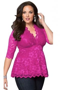 Womens Stylish V-Neck 3/4 Length Sleeve Plus Size Lace Blouse Rose Red