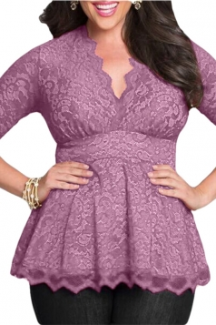 Womens Stylish V-Neck 3/4 Length Sleeve Plus Size Lace Blouse Purple