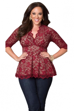Womens Stylish V-Neck 3/4 Length Sleeve Plus Size Lace Blouse Ruby