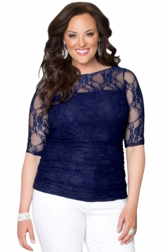 Womens Chic Crewneck Half Sleeve Plus Size Lace Blouse Sapphire Blue