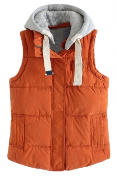 Womens Stylish Detachable Hooded Zipper Quilted Vest Orange