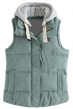 Womens Stylish Detachable Hooded Zipper Quilted Vest Green
