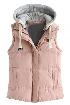 Womens Stylish Detachable Hooded Zipper Quilted Vest Pink