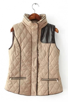 Womens Thick Diamond PU Leather Patchwork Zipper Quilted Vest Khaki