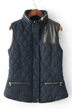 Womens Thick Diamond PU Leather Spliced Zipper Quilted Vest Navy Blue