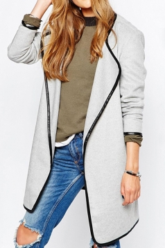 Womens Stylish Plain Long Sleeve Turndown Collar Trench Coat Gray