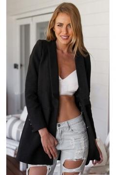 Womens Slim Plain Turndown Collar Long Sleeve Woolen Coat Black