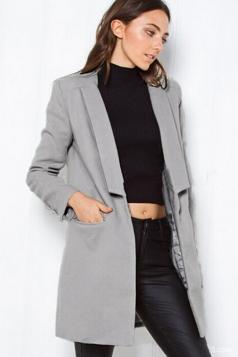 Womens Slim Plain Turndown Collar Long Sleeve Woolen Coat Gray