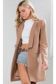 Womens Slim Plain Turndown Collar Long Sleeve Woolen Coat Khaki