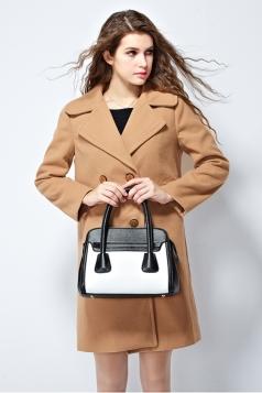 Womens Plain Lapel Double-breasted Mid-long Woolen Coat Khaki