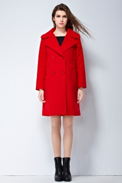 Womens Plain Turndown Collar Double-breasted Mid-long Woolen Coat Red