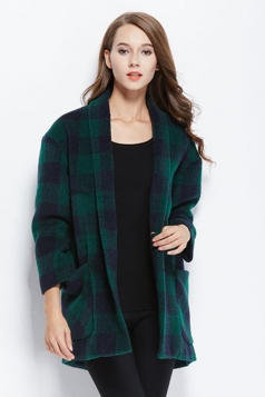 Womens Stylish Plaid Pattern One Buckle Medium-long Woolen Coat Green