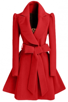 Womens Plain Turndown Collar Sash Medium-long Woolen Coat Red