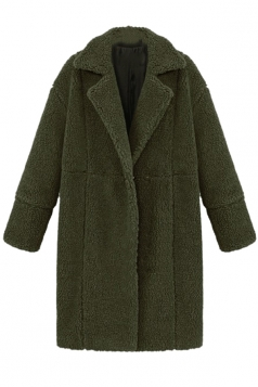 Womens Plain Long Sleeve Turndown Collar Medium-long Overcoat Green