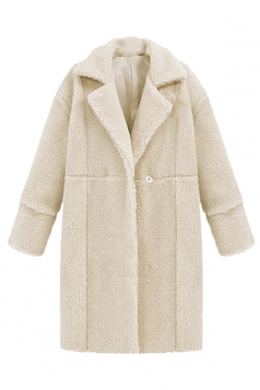 Womens Plain Long Sleeve Turndown Collar Medium-long Overcoat White