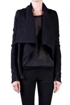 Womens Long Sleeve Zipper PU Leather Spliced Woolen Coat Black