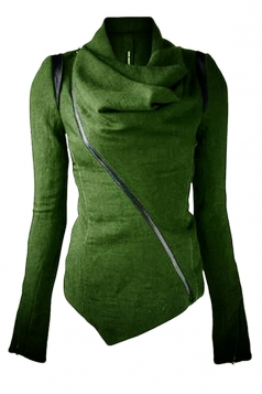Womens Long Sleeve Zipper PU Leather Spliced Woolen Coat Green