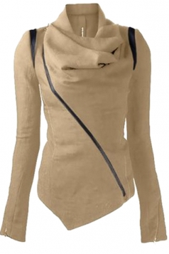 Womens Long Sleeve Zipper PU Leather Spliced Woolen Coat Khaki
