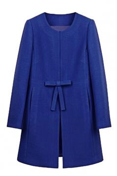 Womens Plain Long Sleeve Pockets Bow Decor Woolen Coat Sapphire Blue