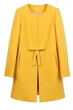 Womens Plain Long Sleeve Double Pockets Bow Decor Woolen Coat Yellow