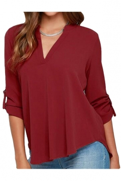 Womens Stylish Plain Long Sleeve V Neck Loose Chiffon Blouse Ruby