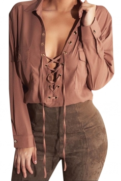 Womens Plain Turndown Collar Lace Up Long Sleeve Chiffon Blouse Brown