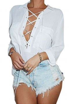 Womens Plain Turndown Collar Long Sleeve Lace Up Chiffon Blouse White