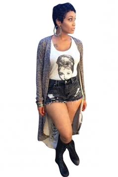 Womens Chic Plain Long Sleeve Back Split Cardigan Gray