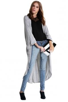 Womens Chic Plain Long Sleeve Loose Maxi Cardigan Light Gray