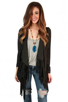Womens Plain Long Sleeve Fringed Medium-long Cardigan Deep Gray