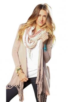 Womens Chic Plain Long Sleeve Tassel Medium-long Cardigan Beige White
