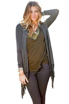 Womens Classic Plain Long Sleeve Tassel Medium-long Cardigan Gray