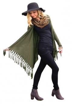 Womens Classic Plain Long Sleeve Tassel Medium-long Cardigan Green