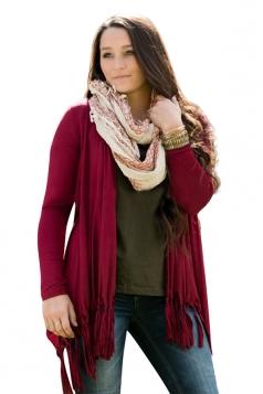 Womens Classic Plain Long Sleeve Tassel Medium-long Cardigan Ruby