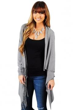 Womens Plain Long Sleeve Fringed Medium-long Cardigan Gray