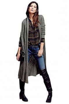 Womens Plain Long Sleeve Loose Maxi Knitted Cardigan Gray