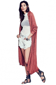 Womens Plain Long Sleeve Loose Maxi Knitted Cardigan Ruby